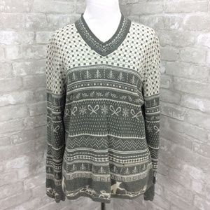 Vintage Woolrich Sweater Gray Heather Sled Dogs L